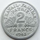 Photo numismatique  Monnaies Monnaies Françaises Etat Français 2 Francs 2 Francs Bazor 1943 B, G.536 TTB R!