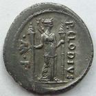 Photo numismatique  Monnaies République Romaine Claudia 42 avant Jc Denier, denar, denario, denarius P.CLODIUS TURRINUS, Denier 42 avant Jc, Diana lucifera, 3.65 grammes, RSC.Claudia 15 TTB+