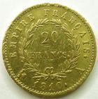 Photo numismatique  Monnaies Monnaies Française en or 1er Empire 20 Francs or NAPOLEON Ier, 20 francs or 1810 A, Variété petit coq, G.1025 petites rayures au revers sinon TTB+/TTB R!