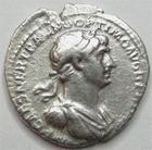 Photo numismatique  Monnaies Empire Romain TRAJAN, TRAJANUS, TRAIAN, TRAIANO Denier, denar, denario, denarius TRAIANUS, TRAJAN, Denier Rome en 114.117, Fort Red la Fortune assise, 2.55 grammes, RIC.315 TB à TTB