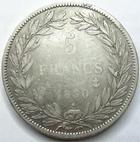 Photo numismatique  Monnaies Monnaies Françaises Louis Philippe 5 Francs LOUIS PHILIPPE Ier, 5 francs tête nue 1830 A, Tranche en relief, G.676a TTB/TB
