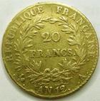 Photo numismatique  Monnaies Monnaies Française en or Consulat 20 Francs or BONAPARTE Premier Consul, 20 francs or AN 12 A, G.1020 TB à TTB