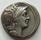 Photo numismatique  Monnaies République Romaine Claudia 110 avant Jc Denier, denar, denario, denarius C.CLAODIUS PULCHER, Denier 110.109 avant Jc, bige à droite, 3.71 grammes, RSC.Claudia 1 TTB