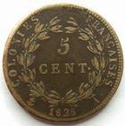 Photo numismatique  Monnaies Anciennes colonies Françaises Colonies générales 5 Centimes CHARLES X, Colonies générale, 5 centimes pour la Guyanne, 1828 A, LEC.300 TTB