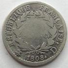 Photo numismatique  Monnaies Monnaies Françaises 1er Empire Demi franc NAPOLEON Ier, demi franc 1808 D Lyon, G.398 TB