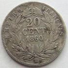 Photo numismatique  Monnaies Monnaies Françaises Second Empire 20 Cmes NAPOLEON III, 20 centimes 1860 BB Strasbourg, G.305 traces de néttoyage sinon TB/TB+