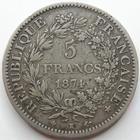 Photo numismatique  Monnaies Monnaies Françaises Troisième République 5 Francs 5 Francs Hercule 1874 K Bordeaux, G.745a TB à TTB