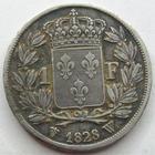 Photo numismatique  Monnaies Monnaies Fran�aises Charles X 1 Franc CHARLES X, 1 franc 1828 W Lille, G.450 avers avec coups et traces de n�ttoyage, TB/TTB