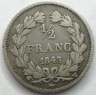Photo numismatique  Monnaies Monnaies Françaises Louis Philippe 1/2 Franc LOUIS PHILIPPE, 1/2 franc 1843 W Lille, G.408 TB/TB+