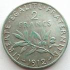 Photo numismatique  Monnaies Monnaies Françaises Troisième République 2 Francs 2 Francs Semeuse de Roty 1912, G.532 TTB