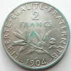 Photo numismatique  Monnaies Monnaies Françaises Troisième République 2 Francs 2 Francs Semeuse de Roty 1904, G.532 TB à TTB