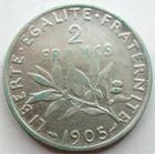 Photo numismatique  Monnaies Monnaies Françaises Troisième République 2 Francs 2 Francs Semeuse de Roty 1905, G.532 coup sur tranche sinon TB à TTB