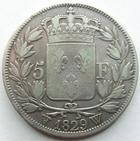 Photo numismatique  Monnaies Monnaies Fran�aises Charles X 5 Francs CHARLES X, 5 francs 1829 W Lille, G.644 Presque TTB