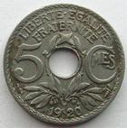 Photo numismatique  Monnaies Monnaies Françaises Troisième République 5 Centimes 5 centimes Lindauer 1920 petit module, G.170 TTB R!