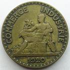 Photo numismatique  Monnaies Monnaies Françaises Troisième République 2 Francs 2 francs (bon pour) Domard 1920, G.533 rayures au revers sinon TTB assez rare!