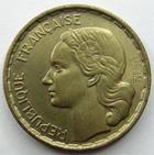 Photo numismatique  Monnaies Monnaies Françaises 4ème république 20 Francs 20 francs Georges Guiraud 1950, queue à 3 fauçilles, G.864 SUPERBE