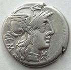 Photo numismatique  Monnaies R�publique Romaine Aburia 132 av Jc Denier, denar, denario, denarius M.ABURIUS Mf.GEMINUS, Denier 132 avant Jc, le soleil conduisant un quadrige, 3.81 grams, RSC.Aburia 6 TTB