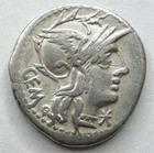 Photo numismatique  Monnaies R�publique Romaine Aburia 134 av Jc Denier, denar, denario, denarius C.ABURIUS GEMINUS, Denier 134 avant Jc, Mars conduisant un quadrige, 3.79 grammes, RSC.Aburia 1 TTB