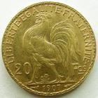 Photo numismatique  Monnaies Monnaies Française en or Troisième République 20 Francs or 20 francs or Coq 1907, G.1064a TTB+