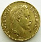 Photo numismatique  Monnaies Monnaies Française en or Second Empire 20 Francs or NAPOLEON III, 20 francs or lauré, 1869 BB Strasbourg, variété grand BB, G.1062 TTB R!