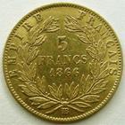 Photo numismatique  Monnaies Monnaies Française en or Second Empire 5 Francs or NAPOLEON III, 5 francs or lauré, 1866 BB Strasbourg, G.1002 TTB/TTB+
