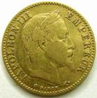 Photo numismatique  Monnaies Monnaies Française en or Second Empire 10 Francs or NAPOLEON III, 10 francs or lauré 1866 BB Strasbourg, G.1015 TB à TTB