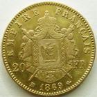 Photo numismatique  Monnaies Monnaies Française en or Second Empire 20 Francs or NAPOLEON III, 20 francs or lauré 1869 BB