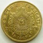 Photo numismatique  Monnaies Monnaies Française en or Second Empire 20 Francs or NAPOLEON III, 20 francs or lauré 1869 BB, TTB