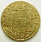 Photo numismatique  Monnaies Monnaies Française en or Second Empire 5 Francs or NAPOLEON III, 5 francs or lauré 1863 BB Strasbourg, G.1002 Coups et pliures TB