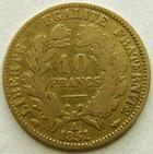 Photo numismatique  Monnaies Monnaies Française en or Deuxième République 10 Francs or 10 francs or Cérès 1851 A, G.1012 TB à TTB
