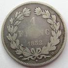 Photo numismatique  Monnaies Monnaies Fran�aises Louis Philippe 1 Franc LOUIS PHILIPPE, 1 franc 1832 BB Strasbourg, 42417 expl. G.453 B � TB R!