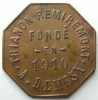Photo numismatique  Monnaies Monnaies de nécéssité Remiremont 50 Centimes REMIREMONT, Trianon, A.Demesy, maison fondé en 1910, 50 centimes, Elie manque TTB+