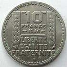 Photo numismatique  Monnaies Monnaies Françaises Gouvernement Provisoire 10 Francs 10 francs 1946 B, Rameaux longs, variété ecriture fine, G.810 petites traces sinon SUPERBE