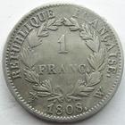 Photo numismatique  Monnaies Monnaies Françaises 1er Empire 1 Franc NAPOLEON I, 1 franc 1808 W Lille, G.446 Légères traces de néttoyage sinon TB à TTB