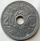 Photo numismatique  Monnaies Monnaies Françaises Gouvernement Provisoire 20 Cmes 20 centimes zinc 1945, G.324 SUPERBE