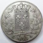 Photo numismatique  Monnaies Monnaies Françaises Louis XVIII 5 Francs LOUIS XVIII, 5 francs 1823 A Paris, G.614 TB à TTB