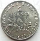 Photo numismatique  Monnaies Monnaies Françaises Troisième République 2 Francs 2 francs semeuse de Roty 1902, G.532 TTB
