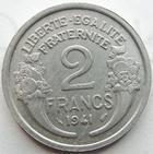Photo numismatique  Monnaies Monnaies Françaises Etat Français 2 Francs 2 francs Morlon aluminium 1941, G.538 petites tâches sinon TTB+