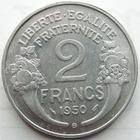 Photo numismatique  Monnaies Monnaies Françaises 4ème république 2 Francs 2 francs Morlon aluminium 1950 B, G.538b petites tâches sinon SUPERBE