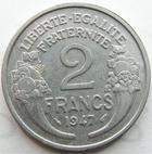 Photo numismatique  Monnaies Monnaies Françaises 4ème république 2 Francs 2 francs Morlon aluminium 1947, G.538b TTB+