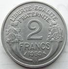 Photo numismatique  Monnaies Monnaies Fran�aises Cinqui�me r�publique 2 Francs 2 francs Morlon aluminium 1959, G.538c SUPERBE