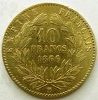 Photo numismatique  Monnaies Monnaies Française en or Second Empire 10 Francs or NAPOLEON III, 10 francs or lauré 1866 BB Strasbourg, G.1015 légèrement lustrée sinon TB à TTB