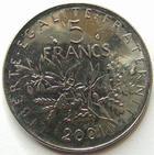 Photo numismatique  Monnaies Monnaies Françaises Cinquième république 5 Francs 5 francs semeuse 2001