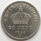 Photo numismatique  Monnaies Monnaies Françaises Second Empire 20 Cmes NAPOLEON III, 20 centimes 1868 A, G.309 TTB