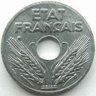 Photo numismatique  Monnaies Monnaies Françaises Etat Français Vingt centimes, 20 centimes zinc Vingt centimes zinc 1941, G.320 SUPERBE