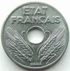 Photo numismatique  Monnaies Monnaies Françaises Etat Français Vingt centimes, 20 centimes zinc Vingt centimes zinc 1941, G.320 SUPERBE+ beau brillant d'origine!!