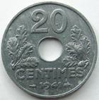 Photo numismatique  Monnaies Monnaies Françaises Etat Français 20 Centimes 20 centimes zinc 1941, G.321 petites tâches sinon SUPERBE