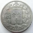 Photo numismatique  Monnaies Monnaies Fran�aises Charles X 5 Francs CHARLES X, 5 francs 1830 W Lille, G.644 Lustr�e sinon TTB