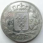 Photo numismatique  Monnaies Monnaies Fran�aises Charles X 5 Francs CHARLES X, 5 francs 1827 B Rouen, G.644 Lustr�e sinon TTB