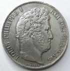 Photo numismatique  Monnaies Monnaies Françaises Louis Philippe 5 Francs LOUIS PHILIPPE I er, 5 francs 1845 BB Strasbourg, G.678a TTB